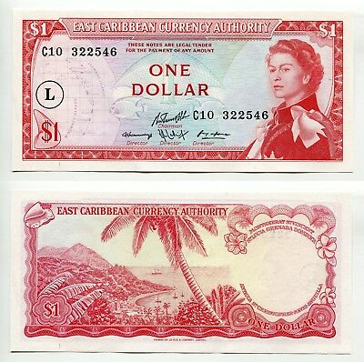 1 Dollar East Carribean States ND (1965) L in Circle, aUNC  P.13l