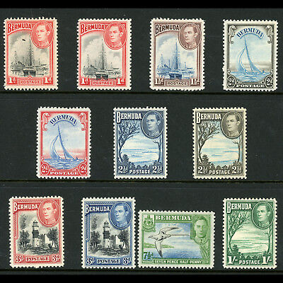 BERMUDA 1938-52 1d to 1s. 11 Values. SG 110-115. Lightly Hinged Mint. (BH280)