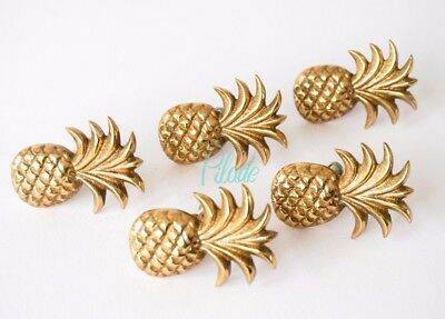 5 x Brass Pineapple Door Furniture Drawer Knob Vintage Antique Look Gold