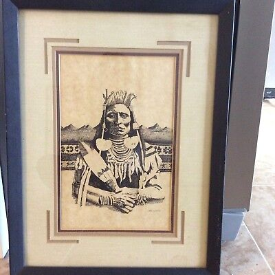 """Original Etching Native American Indian matted & framed signed """"Cheri"""" 16 x 21"""