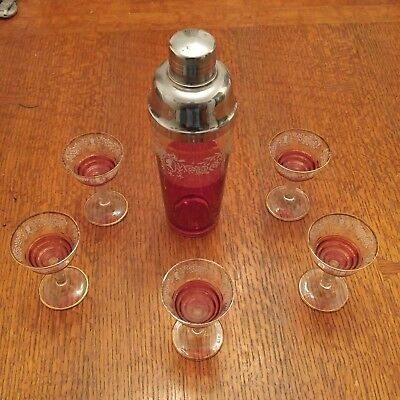 Vintage 11 in. Cocktail Shaker Set- Clear, Cranberry, Chrome, White