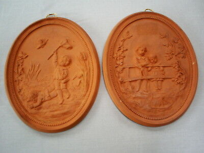 Lovely Pair Antique Victorian Terracotta Wall Plaques Of Children Playing 172