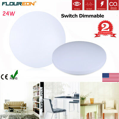 24W LED Ceiling Light 15.7inch Round Flush Mount Fixture Dimmable Bedroom Lamp