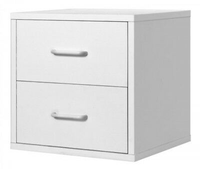Modular 2 Drawer Cube Storage System White Filing Cabinet Storage Organizer New