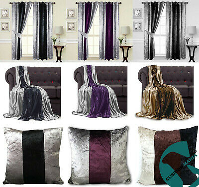 Curtains Ring Top Eyelet Ready Made Fully Lined Thick Crushed Velvet 2 tone