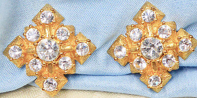 "Vintage Gold Tone Square Clip Earrings with Clear Rhinestones, 13/16"", 19.3 gram"