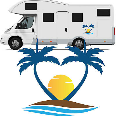 Motorhome Palm Tree Sun Vinyl Stickers - Camper Van Horsebox Caravan RV Decals