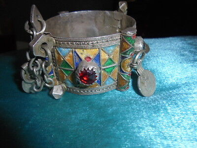Moroccan Jewelry,old Tiznit Berber Sterling Enamel Coin Clasp Bracelet, Complete