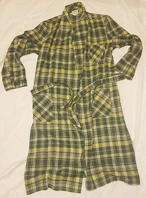 Vintage Sea Island Plaid Long Sleeve Lightweight Robe with Belt Size M