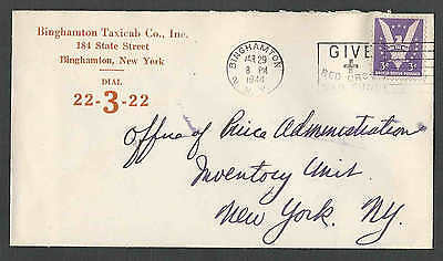 Date 1944 Cover Binghamton Ny Taxi Co W/Bold Phone # Mailed To Price Admin