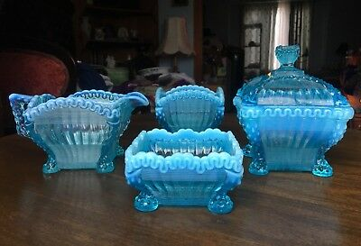 Glass Tableware Set Blue with white ribbing Mint condition