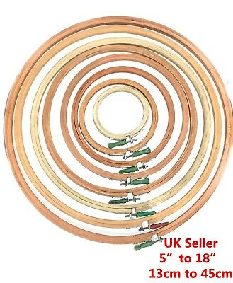 "WOODEN CROSS STITCH / EMBROIDERY HOOP / RING / FRAMES  (5"" - 18 in / 10 - 45 cm)"