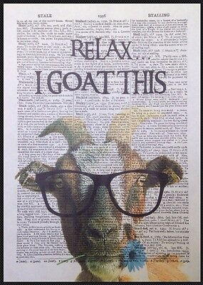 Goat Vintage Dictionary Page Wall Art Picture Print Quote Funny Quirky Animal