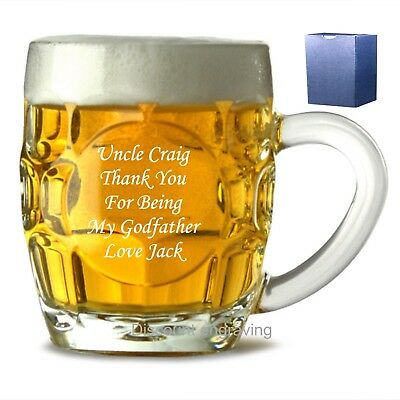 Personalised 1 Pint Dimple Beer Mug, Glass Tankard Wedding Favour Gift Engraved