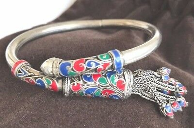 Women Silver Bangle Embroidered Floral Design With Tussle