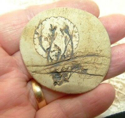 Jewellery  Hand Crafted Pottery Brooch With Abstract Design  415