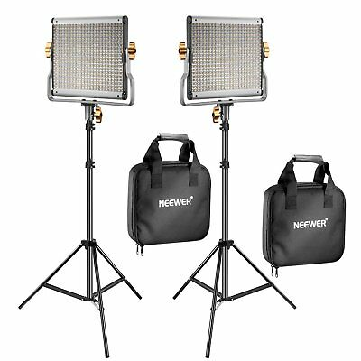 Neewer 2 Packs Dimmable Bi-color 480 LED Video Light and Stand Lighting Kit CRI