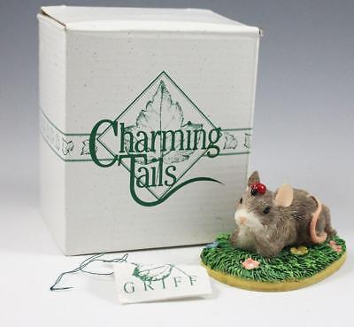 "Charming Tails ""I'm Thinking of You"" Mouse w/Ladybug Figurine 89/701 Dean Griff"