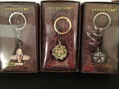 Argento SC Key Chain with Swarovski Crystals, Lot of 3, pink black green