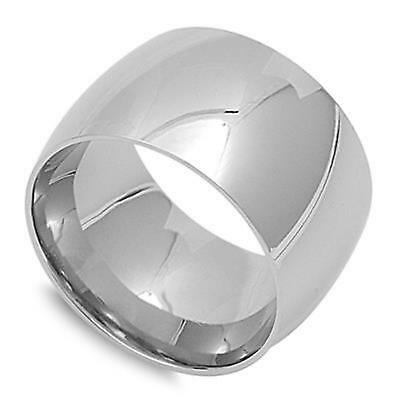 Mens / Ladies Silver Stainless Steel Thumb Ring 15mm ~ Size 9 10 11 12 13 14 15