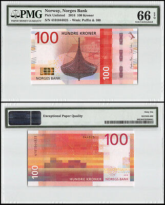 Norway 100 Kroner, 2016, P-54, Puffin, PMG 66