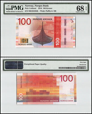 Norway 100 Kroner, 2016, P-NEW, Puffin, PMG 68