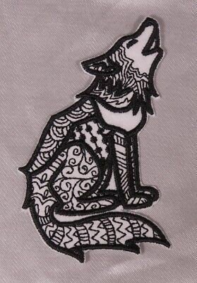 Embroidered Black Tattoo Pattern Tribal Howling Wolf or Coyote Patch Iron On Sew