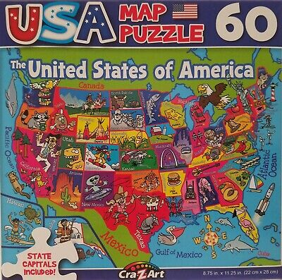 Puzzle Map Of The United States.60 Piece Jigsaw Puzzle Map Of The 50 Sates Of The United States Of
