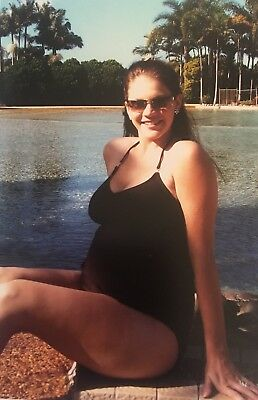 Maternity Swimwear - Chocolate One Piece With Diamonte Detail - Size 8 (LM6/17)