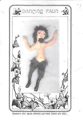 "Dancing Faun 7"" cloth doll pattern sewing 18cm pin doll instructions goat man"