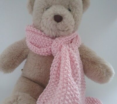 Teddy Bear Clothes, Handmade Pale Pink Hand Knitted Scarf