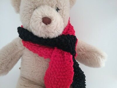 Teddy Bear Clothes, Handmade Black & Red Hand Knitted Scarf