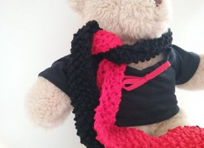 Teddy Bear Clothes, Handmade Red & Black T-shirt & Scarf Supporters Kit