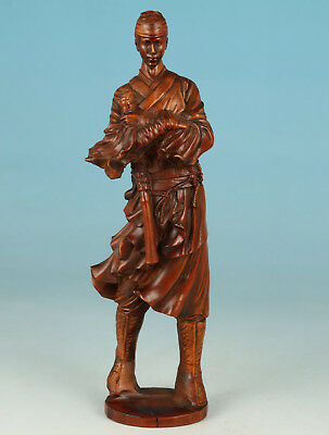 only one Chinese boxwood Collection Handmade Carved swordsman Statue