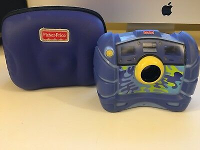 """Fisher Price Kid Tough Camera Blue Camo with case """"FREE SHIPPING"""""""