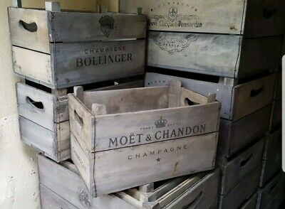 Champagne Crate. Vintage style Fruit crates. Firewood Log Basket Storage Box