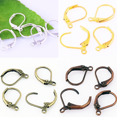 60 Brass French Hooks Ear Wires Connector Clip Lever Back Earrings Finding DIY