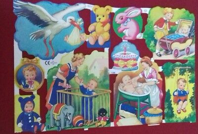 Vintage Style Scrap Relief Sheet Scrapbook Craft Children /babies Colourful