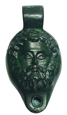 Roman Ancient Artifact Bronce Oil Lamp Of a Rare Male God 200-400 AD