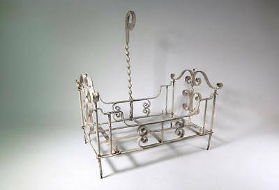 French Vintage Doll's Bed in Wrought Iron Painted White c. 1920-30