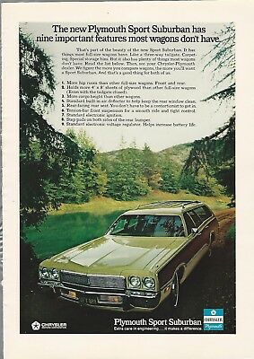 1973 PLYMOUTH SPORT SUBURBAN advertisement, Plymouth Wagon