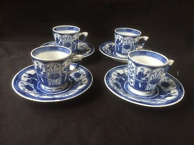 antique chinese marked porcelain. 4 x little tea cups + saucers. Marked 4 charac