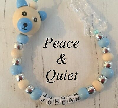 Personalised Dummy Clip💙Wooden💙Dummy Chain💙Natural💙blue💙silver💙teddy #PWP