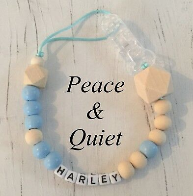 Personalised Dummy Clip💙Wooden💙Dummy Chain💙Natural💙blue💙boy💙chunky💙 #PWP