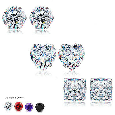 Stud Earrings Heart Square or Round Black or Clear CZ 3MM - 10MM Stainless Steel