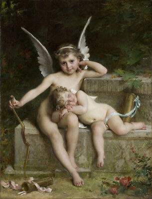 Vintage Painting Print On Canvas Cherubs Angels Munier Rare Ready to Hang RICH!