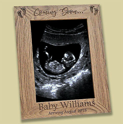 """Personalised Baby First Scan Photo Picture Frame 5"""" x 7"""" New Baby Gift Engraved"""