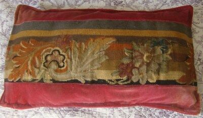 One Pillow French antique Aubusson tapestry pink  velvet floral decor