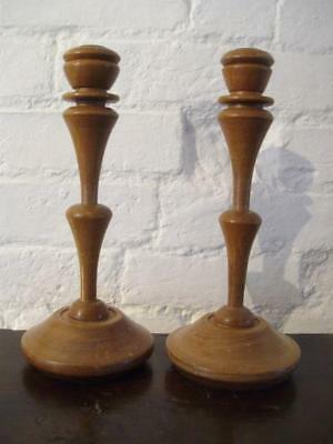 A GOOD PAIR of ANTIQUE Art Nouveau inspired TURNED WOODEN CANDLESTICKS
