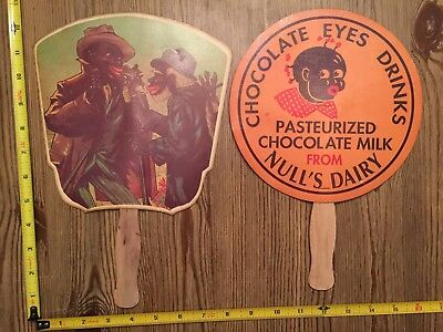 Lot of 2 RARE Vintage Paper Advertising Fans Black Americana Dairy Chicken